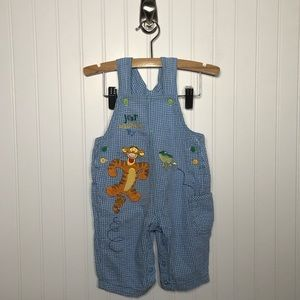 Winnie the Pooh Tigger Blue Gingham Overalls 6-9M